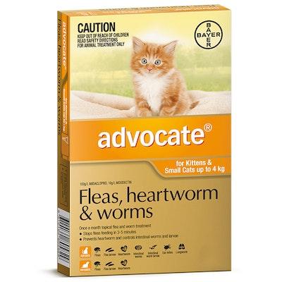 Advocate Cat & Kitten 0-4kg Orange Spot On Flea Wormer Treatment - 3 Sizes