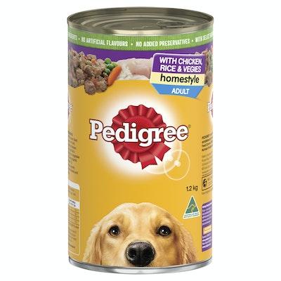 Pedigree Adult Homestyle Wet Dog Food Chicken Rice & Vegies 12 x 1.2kg