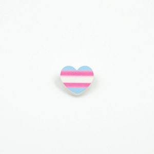 Mini Transgender Heart Flag Printed Acrylic Brooch