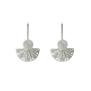 Fan Pandero Earrings - Sterling silver filigree -