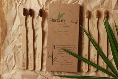 Nature Joy Adult Bamboo Toothbrushes; Biodegradable; Forest Friendly; Fairtrade; Landfill friendly (6 brushes _ 3 beige & 3 brown) 2020