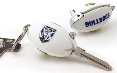 Creative Keys NRL Canterbury Bulldogs football flip key, LW4 domestic profile key blank (NOT CUT)