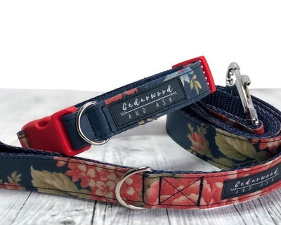 Cedarwood and Ash Floral Red on Navy Handmade Dog Collar with Matching Leash (This listing is for a collar and leash SET, the Dog Collar ONLY is available in a separate listing)