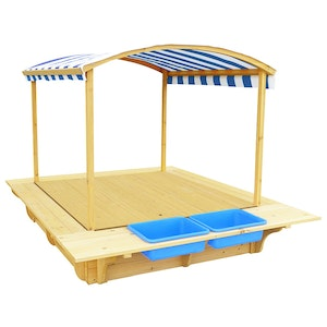 Lifespan Kids Playfort Sandpit (Blue Canopy) with Wooden Cover