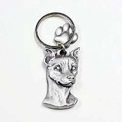 Key Companions Solid Fine Pewter Miniature Pinscher with Paw Keychain