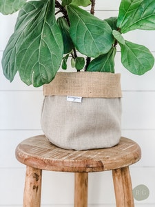 Pot Plant Cover - Oatmeal Linen and Hessian Reversible