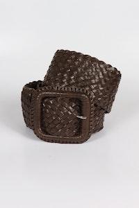 Hitchley & Harrow Leather Plaited Belt - Havana