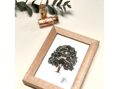 Framed A6 'Tree' Limited Edition Print with Hand-Applied Gold-Leaf Metals.