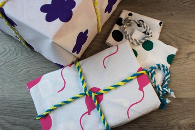 Julevidge Boomerang eco fabric gift wraps, four wraps bundle.