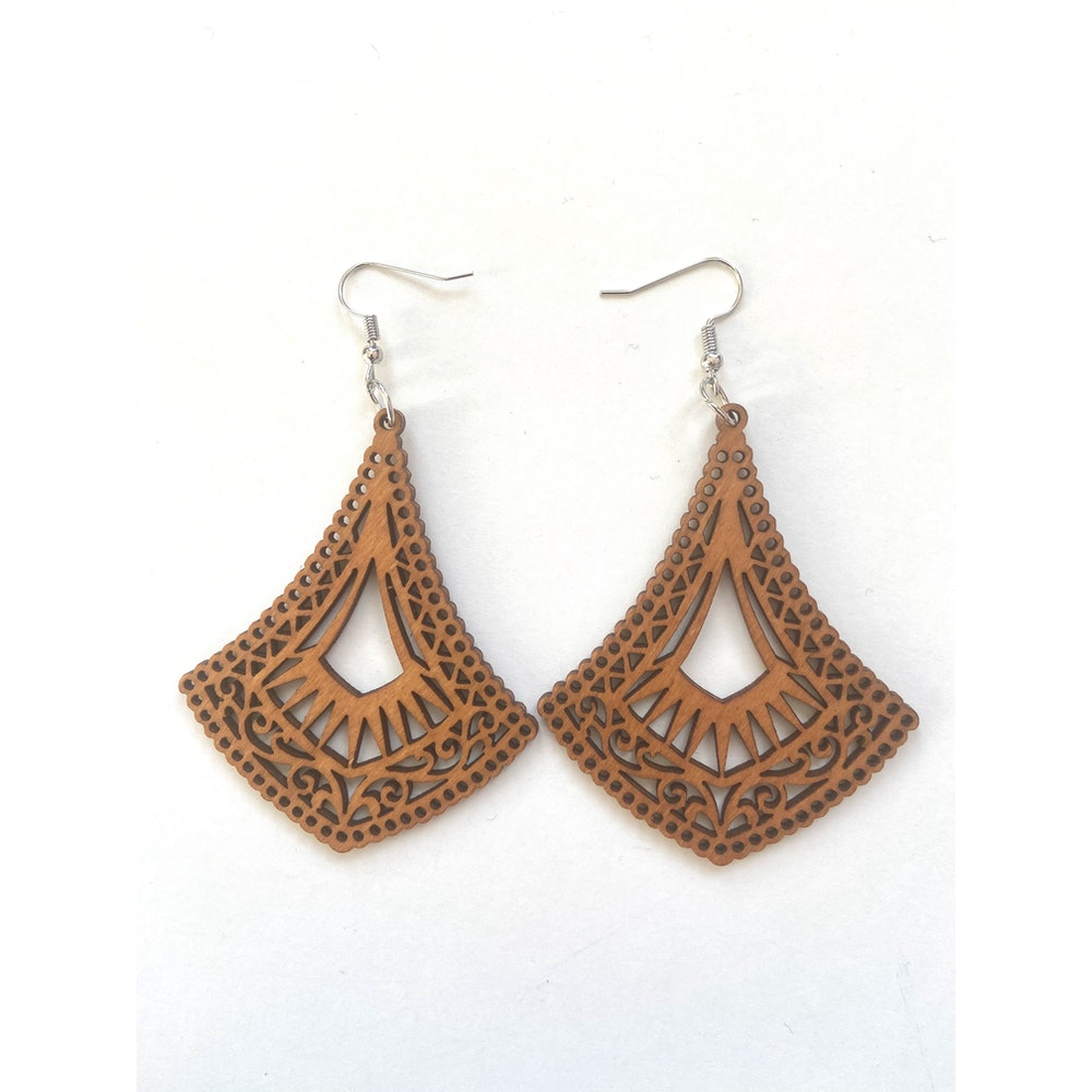 One of a Kind Club Delicate Pattern Wood Dangle Earrings