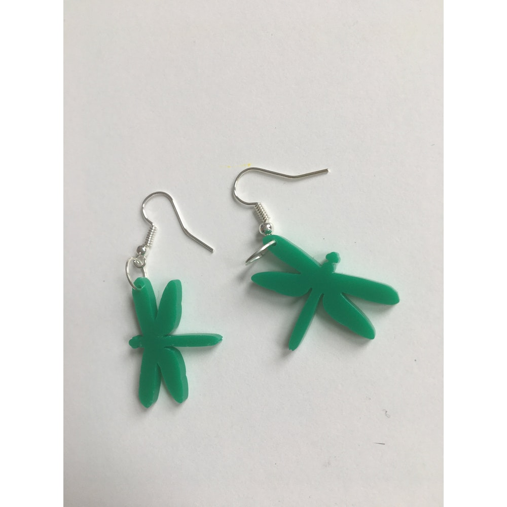 One of a Kind Club Forest Green Dragonfly Acrylic Earrings