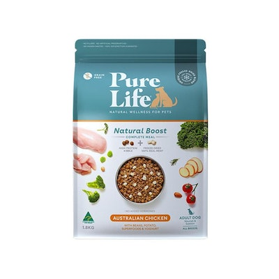 PURE LIFE Natural Boost Chicken Dry Dog Food 1.8KG