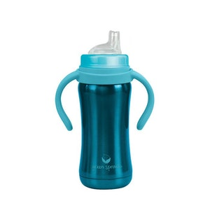 green sprouts Sippy Cup made from Stainless Steel- 6oz-Aqua-6mo+
