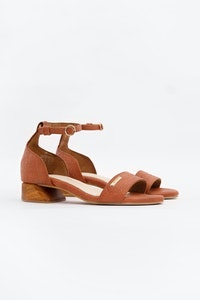 1 People Chicago Ankle Strap Heels in Canela Brown