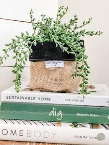 Mini Pot Plant Cover - Black Linen Reversible Hessian