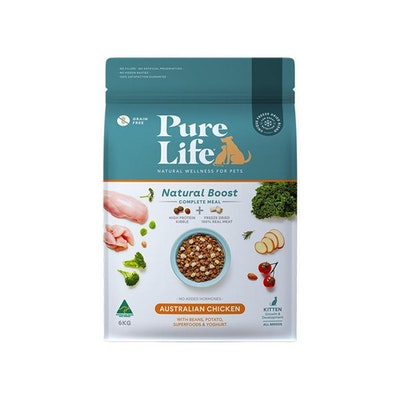 PURE LIFE Natural Boost Chicken Dry Kitten Food 6KG