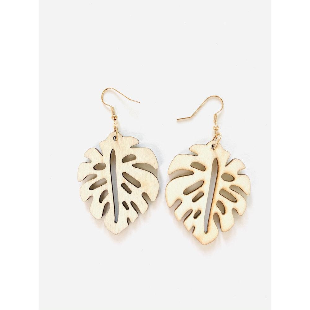 One of a Kind Club Monstera Leaf Wooden Dangle Earrings