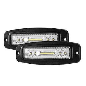 LIGHTFOX Pair 7Inch Cree Led Work Light Bar Flush Mount Combo Reverse Fog Lamp 4WD
