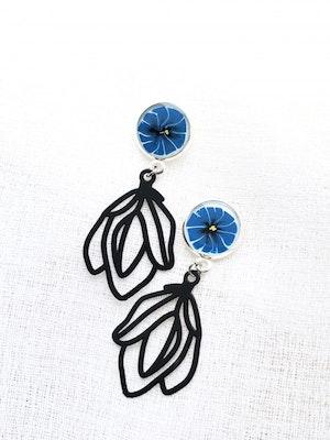 Bijouniq Hand painted Blue Anemon Resin Earrings 2021