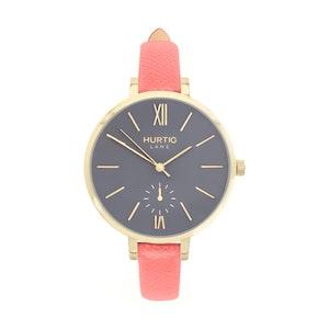Hurtig Lane Amalfi Petite Vegan Leather Watch Gold, Grey & Coral