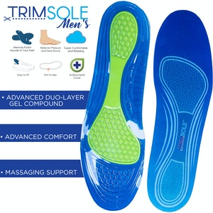 Boutique Medical TRIMSOLE Men's Gel Advanced Insoles Silicone Antibacterial Inserts Pads Massage