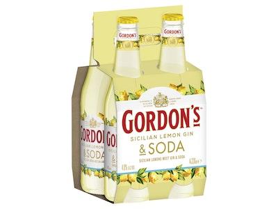 Gordons Gin Sicilian Lemon and Soda Bottle 330mL 4 Pack