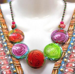 "Beadoire Glass Lampwork Glass Bead Necklace ""La Vie En Rose"""