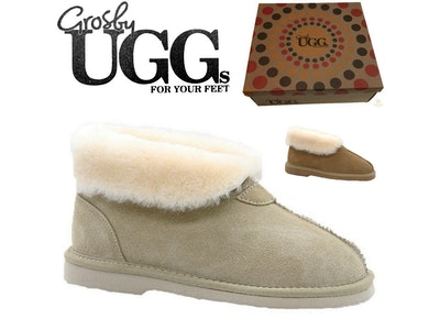 Boutique Medical GROSBY Women's Princess UGG Boots Genuine Sheepskin Suede Leather Slippers