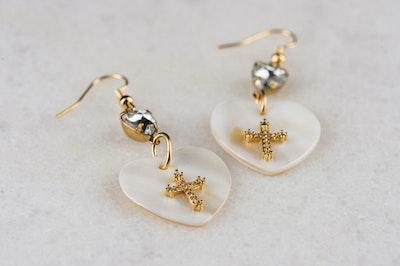 Pearl Cross Love Earrings