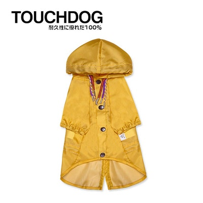 TOUCHDOG Split-Vent Designer Waterproof Dog Raincoat Yellow