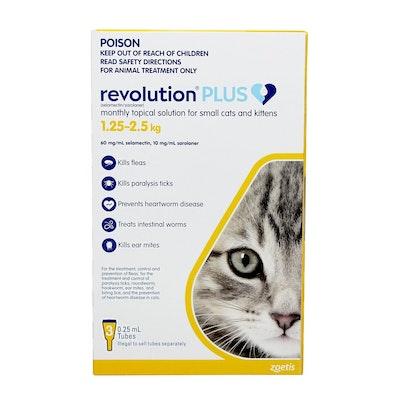 REVOLUTION PLUS Spot On Treatment for Kitten 1.25-2.5kg Yellow 3 Pack