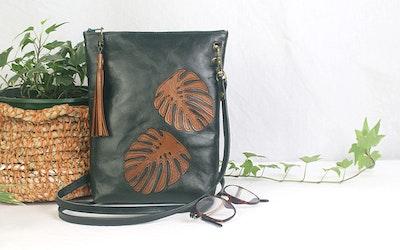 Monika Leather Dance Bag - Green & Tan
