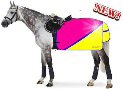 Charlotte Dujardin Multi Coloured Waterproof Hi Viz Horse Sheet - Pink/Yellow