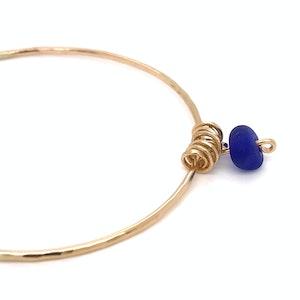 Cobalt Blue Seaglass Bangle - Gold