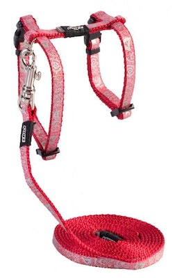 Rogz Harness And Lead Sparklecat Red