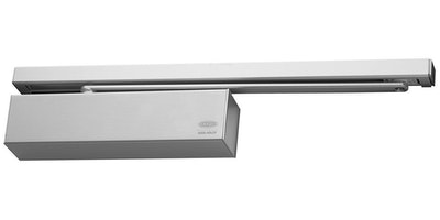Lockwood 2616 CAM Action Door Closer with Slide Arm and Delayed Action Finished in Satin Stainless Steel