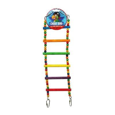 Cheeky Bird 6 Step Ladder Wooden Bird Toy w/ Beads