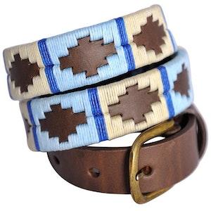 Pioneros Belt Narrow Pale Blue, White, Blue Stripe