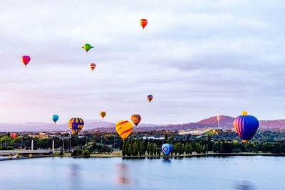 Canberra Balloon Festival and Australia's Parliament House