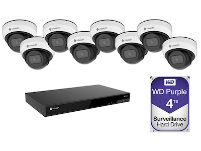 Milesight 4K 8-Channel 5000 NVR CCTV Kit including 8 x 5MP weather resistant mini domes and a 4TB HDD (Screen NOT included)