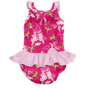 i play. Tropical 1pc Ruffle Swimsuit w/Built-in Reusable Absorbent Swim Diaper-Fuchsia Hummingbird