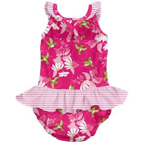 i play. Tropical 1pc Ruffle Swimsuit w/Built-in Reusable Absorbent Swim Diaper-Fuchsia Hummingbird