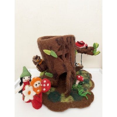 SparksJoi Birdy Felt Tree House with Two Finger Puppets 2021