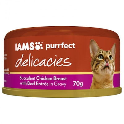 Iams Purrfect Cat Food Chicken With Beef Entrée Gravy 70g x 24