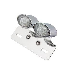 Cat Eye Twin Chrome LED Tail Light - Clear Lens