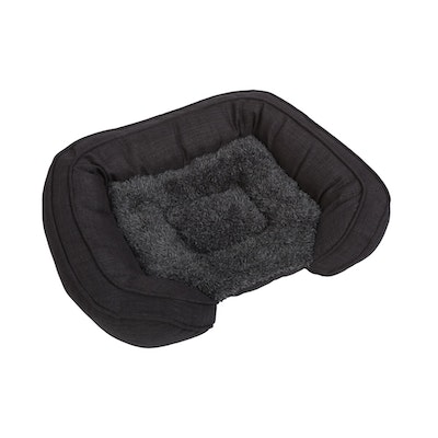 Charlie's Pet Faux Fur Bed with Padded Bolster Grey