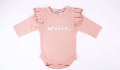 Personalised Blush Pink Flutter Onesie - Plain Font