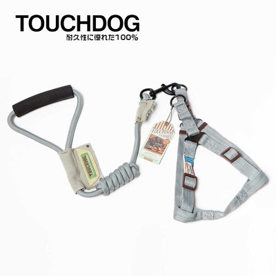 TOUCHDOG  Original Round Climbing Rope Dog Leash and Harness Grey - L