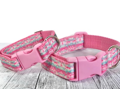 Cedarwood and Ash Pastel Pink and Aqua Tie Dye Dog Collar. (This listing is for the Collar only, a Collar and Leash SET is available in separate listing.)