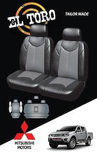 Leather Look Car Seat Covers For Mitsubishi Triton Dual Cab 2006-2020 | Grey